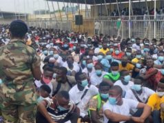 Thousands of people turn up for medical screening at El-Wak Stadium for millitary